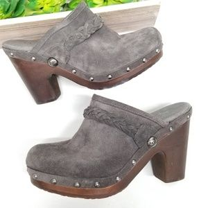 UGG Kaylee Suede Leather Clogs Grey